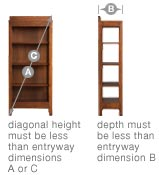 Measure the diagonal height at widest point and depth of bookcases, armoires, etc.