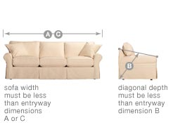 Measure the width and diagonal depth of a sofa.