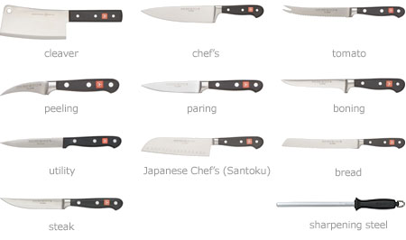 Cleaver, cheft's, tomato, peeling, paring, boning, utility, Japanese Chef's (Santoku), bread, steak, sharpening steel.