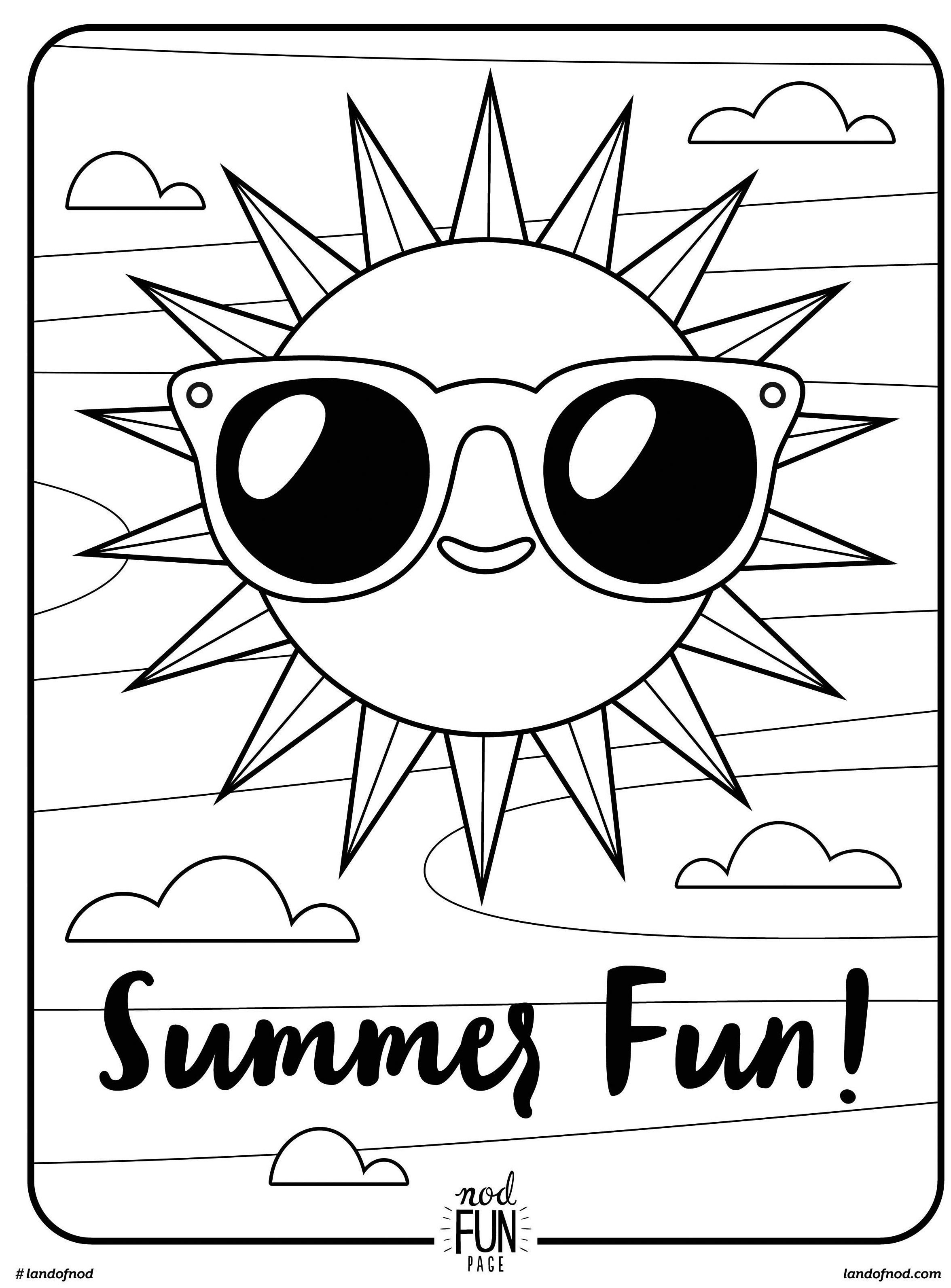 free printable coloring page summer fun - Fun Printable Coloring Pages
